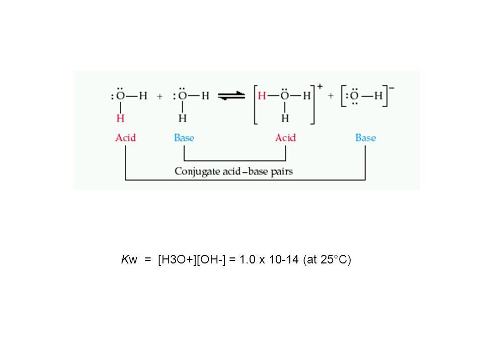 Kw = [H3O+][OH-] = 1.0 x 10-14 (at 25°C)